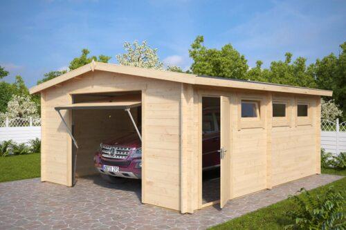 Suur puidust garaaž aeda