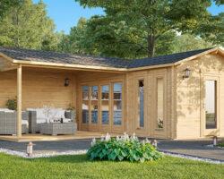 Aiamaja suure verandaga Hansa Corner B 18m² / 6 x 3 m / 44mm