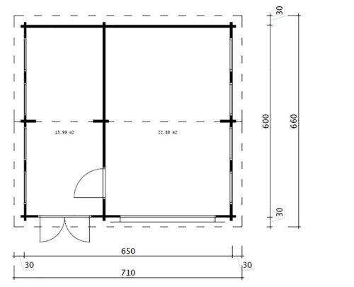 Puidust garaaž kuuriga / mudel Q / 70mm / 6 x 6,5m
